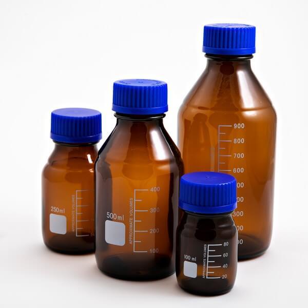 Schott Bottle Amber GL45 Blue Cap