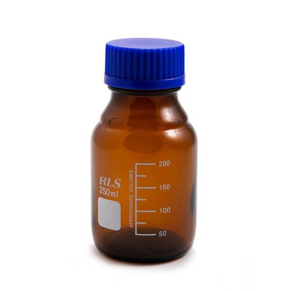 Schott bottle amber blue cap 250ml